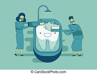 Dentist are cleaning the tooth ,den