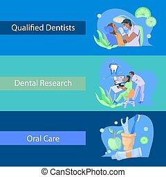Dentist banners set with dental care symbols flat vector illustration.