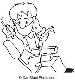 Dentist - Black and White Cartoon illustration, Vector