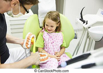 Dentist brushing a dental model