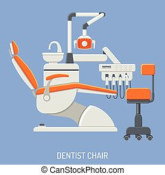 Dental Services Concept with flat icons Dentist chair. isolated vector illustration