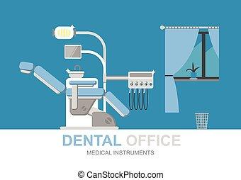 Dentist chair isolated, vector illustration. Dental equipment. Modern flat illustration.
