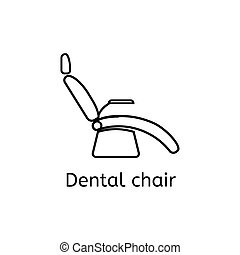 Dentist chair simple icon in outline style. Isolated vector illustration.