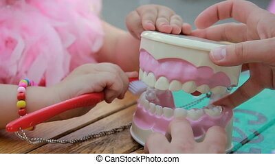 Dentist cleaning jaw model with toothbrush, teaching dental...