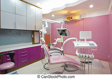 dentist clinic - panoramic view of interior of dental office...