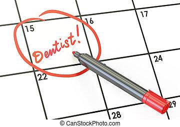 Dentist date on calendar concept, 3D rendering