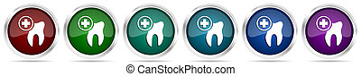 Dentist, dental, tooth icons, set of silver metallic glossy web buttons in 6 color options isolated on white background