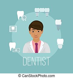 Dentist doctor asian face with tooth care icons vector illustration. Stomatology dentistry with icons of healthy teeth, implants, bridge and dental x-ray.