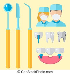 Dentist doctor character and stomatology equipment medicine instrument vector illustration.