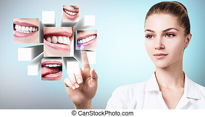 Dentist doctor pointing with finger on collage of healthy beautiful smiles.