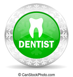dentist green icon, christmas button