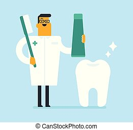 Dentist holding toothpaste and a toothbrush.