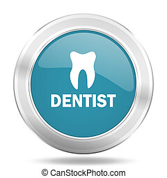 dentist icon, blue round glossy metallic button, web and mobile app design illustration