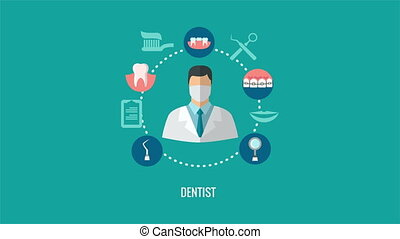 Dentist icon in teeth caring icons circle animation