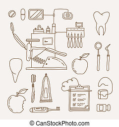 Dentist icon - Vector set of dentist icons and teeth care