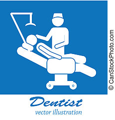dentist icons - dentist icon over blue background vector ...