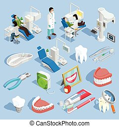 Dentist Icons Set - Dentist isometric icons set with tooth...