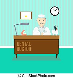Dentist in dental clinic. The doctor is sitting at the table...