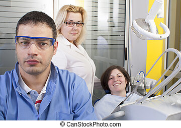 Dentist  in exam room