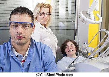Dentist  in exam room