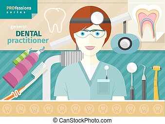 Dentist in uniform with instrument on workplace - Profession...