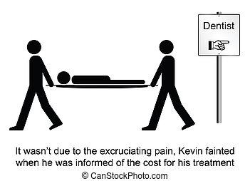 Dentist - Kevin faints at the dentist cartoon isolated on...