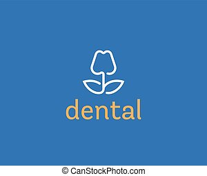Dentist logo design. Tooth linear vector logotype. Dental clinic flower symbol icon.