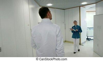 Dentist meeting assistant, patient