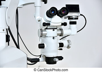 dentist microscope with foto camera for a teeth