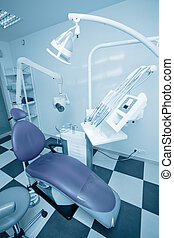 Dentist office. Blue tone.