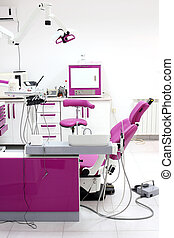 dentist office interior with chair and tools