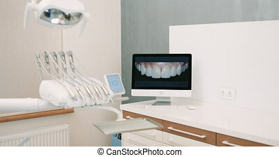 Dentistry operating surgery room full of modern equipment -...