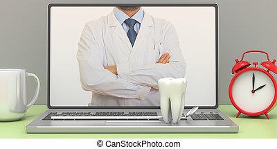 Dentist on a laptop computer screen, office desk background. 3d illustration