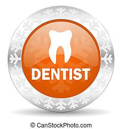 dentist orange icon, christmas button