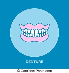 Dentist, orthodontics line icon. Dental prosthesis, tooth orthopedics sign, medical elements. Health care thin linear dentures symbol for dentistry clinic