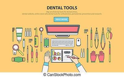 Dentist peck linear - Stock vector illustration set of...