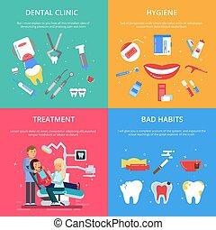 Dentist reception. Healthcare concept illustrations set