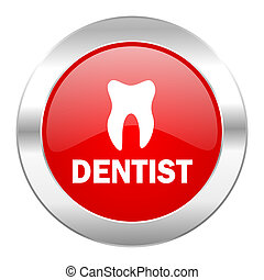 dentist red circle chrome web icon isolated