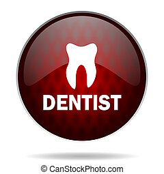 dentist red glossy web icon on white background