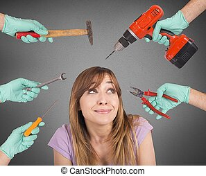 Dentist scary crazy tools - Frightened girl from crazy tools...