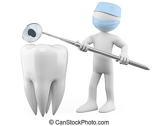 Dentist showing a cavity with a mouth mirror. Rendered at high resolution on a white background with diffuse shadows.