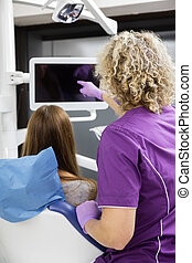 Dentist Showing Blank Screen To Patient At Clinic