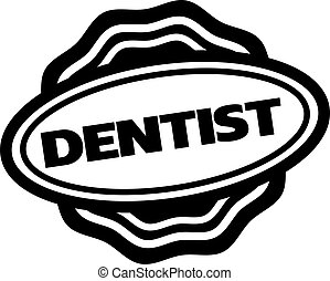 DENTIST stamp on white isolated