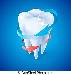 Dentist Symbol - Isometric Illustration Herbal and Fluoride...