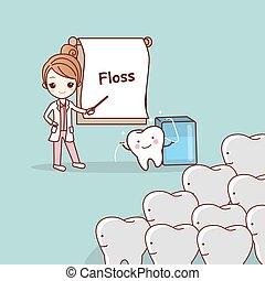 dentist teach teeth use floss