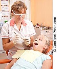 dentist., teenagermädchen
