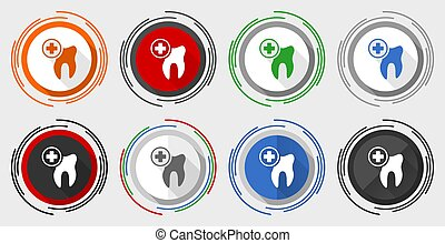Dentist vector icon set, dental, tooth modern design flat graphic in 8 options for web design and mobile applications