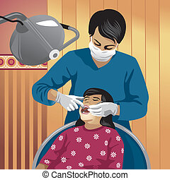 Dentist - Vector illustration of a dentist with his patient...