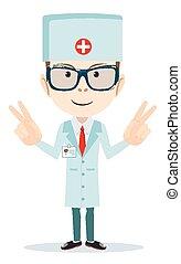 dentist., vektor, -, barátságos orvos