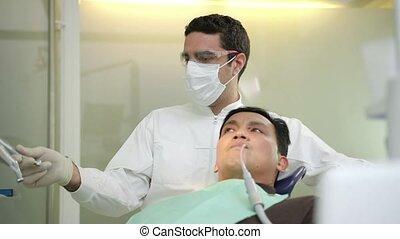 Dentist visiting patient
